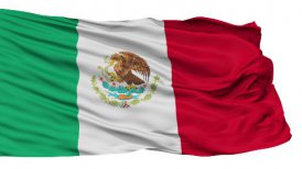 Isolated Waving National Flag of Mexico
