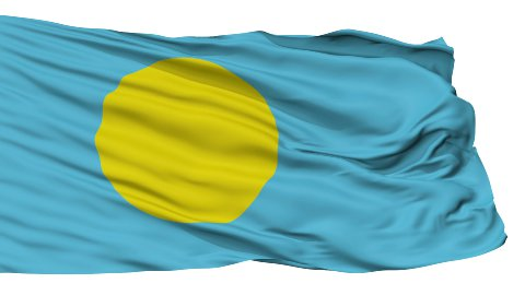 Isolated Waving National Flag of Palau - stock footage