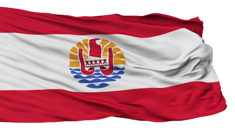 Isolated Waving National Flag of French Polynesia - stock footage