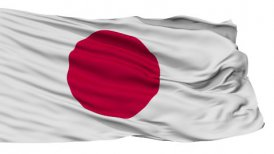 Isolated Waving National Flag of Japan