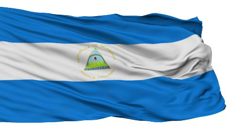 Isolated Waving National Flag of Nicaragua - stock footage