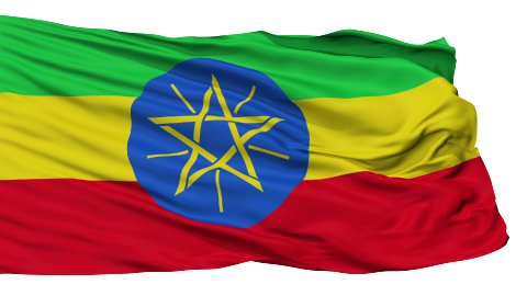 Isolated Waving National Flag of Ethiopia - stock footage