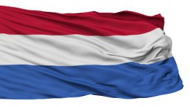 Isolated Waving National Flag of Netherlands Dutch