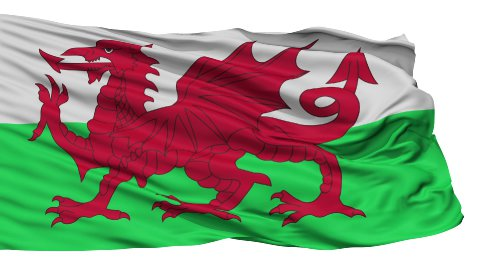 Isolated Waving National Flag of Wales - stock footage