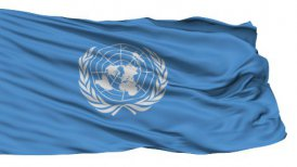 Isolated Waving Flag of United Nation