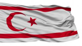 Isolated Waving National Flag of Northern Cyprus