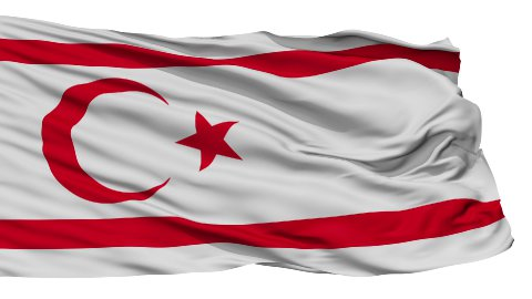 Isolated Waving National Flag of Northern Cyprus - stock footage