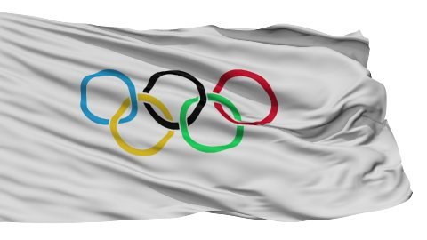 Isolated Waving Flag of Olympic Games - stock footage