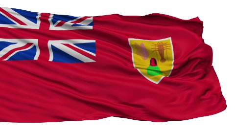 Isolated Waving National Flag of Turks and Caicos Islands - stock footage