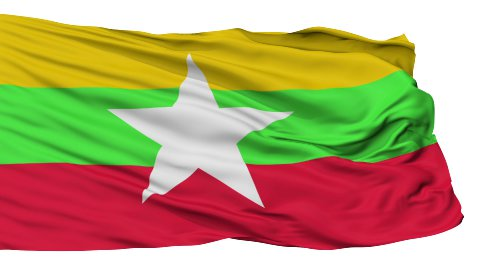 Isolated Waving National Flag of Myanmar - stock footage