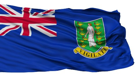 Isolated Waving National Flag of British Virgin Islands - stock footage