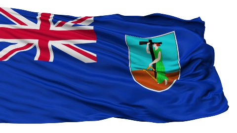 Isolated Waving National Flag of Montserrat - stock footage