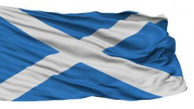 Isolated Waving National Flag of Scotland