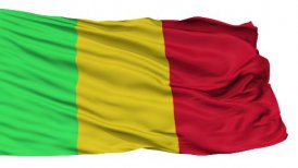 Isolated Waving National Flag of Mali