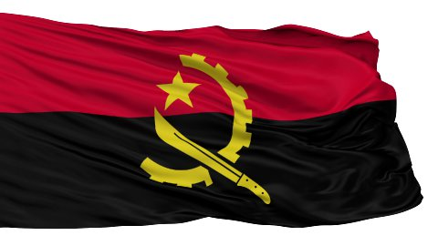 Isolated Waving National Flag of Angola - stock footage