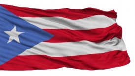 Isolated Waving National Flag of Puerto Rico