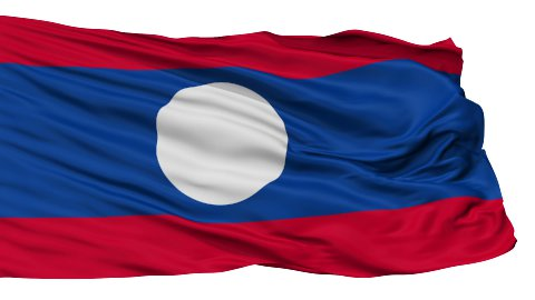 Isolated Waving National Flag of Laos - stock footage