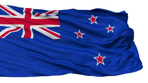 Isolated Waving National Flag of New Zealand - stock footage