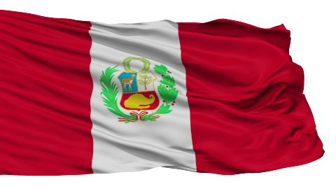 Isolated Waving National Flag of Peru - stock footage