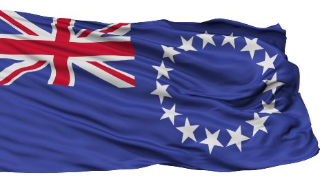 Isolated Waving National Flag of Cook Islands - stock footage