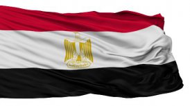 Isolated Waving National Flag of Egypt