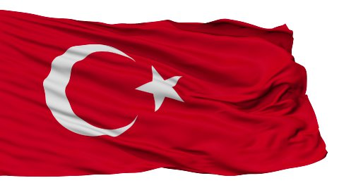 Isolated Waving National Flag of Turkey - stock footage
