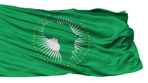 Isolated Waving National Flag of African Union - stock footage