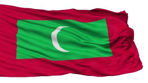 Isolated Waving National Flag of Maldives - stock footage