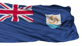 Isolated Waving National Flag of Anguilla