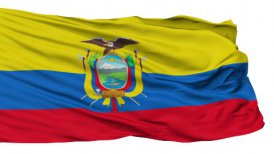 Isolated Waving National Flag of Ecuador