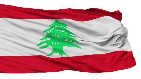 Isolated Waving National Flag of Lebanon - stock footage