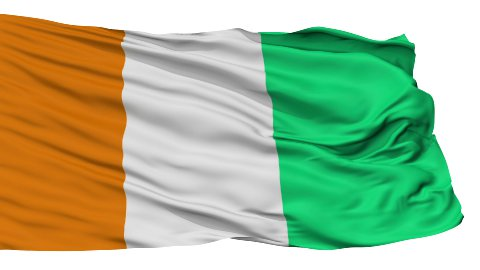 Isolated Waving National Flag of Cote dIvoire - stock footage