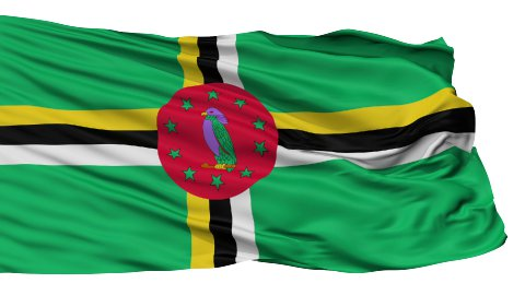 Isolated Waving National Flag of Dominica - stock footage