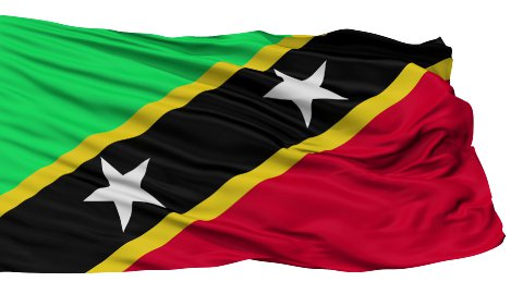 Isolated Waving National Flag of Saint Kitts and Nevis - stock footage