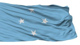 Isolated Waving National Flag of Micronesia