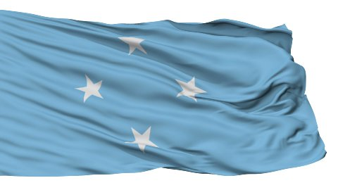 Isolated Waving National Flag of Micronesia - stock footage