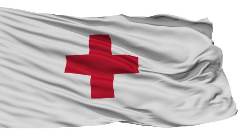 Isolated Waving Flag of Red Cross - stock footage