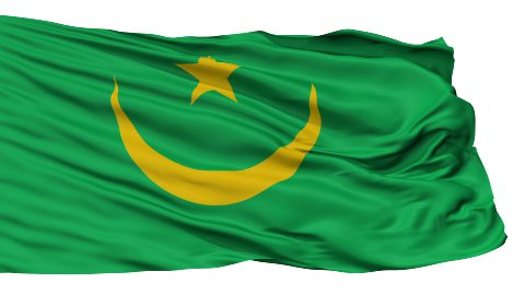 Isolated Waving National Flag of Mauritania - stock footage
