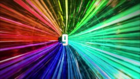 Tunnel with time counting from 20 to 0 every second. Fast intensive flight - motion graphic