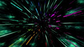 Very fast traveling through colorful tunnel with stars. Easy to loop. - motion graphic