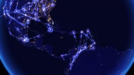 Global communications, network of connections over North and South America. - motion graphic