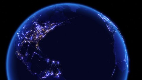 Global communications, network of connections over Asia, Europe and America. - stock footage