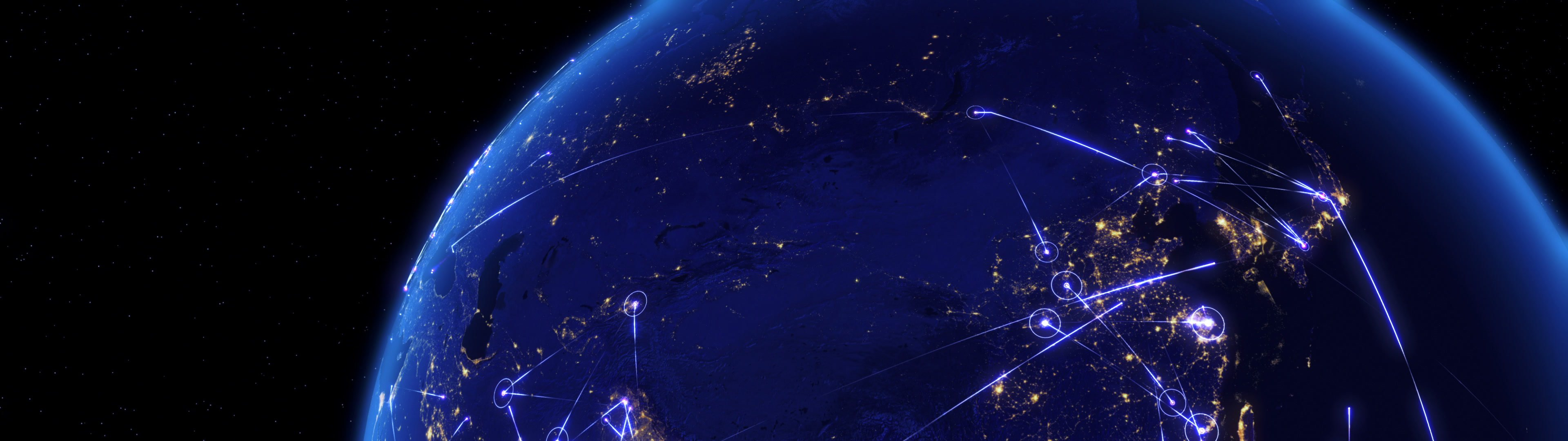 Global communications through the network of connections over Asia. | Global communications through the network of connections over Asia. Concept of internet, social media, traveling or logistics. High resolution texture of city lights at night. 4k - Ultra HD. - ID:22869