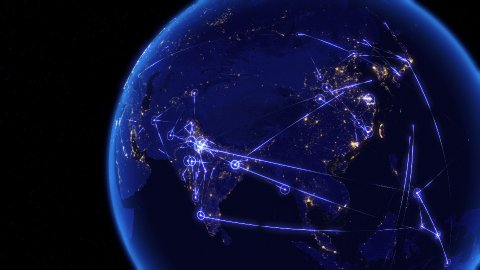Global communications through the network of connections over Asia. - stock footage