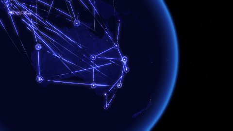 Global communications through the network of connections over Australia. - stock footage