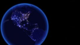 Global communications, network of connections over Australia, Europe, America - motion graphic