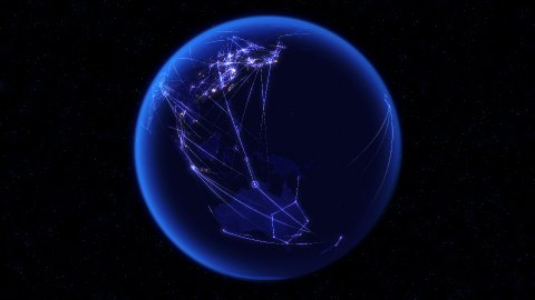 Global communications through the global network of connections. - stock footage