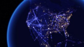 Global communications through the network of connections over North America. - motion graphic