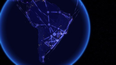 Global communications through the network of connections over South America. - stock footage