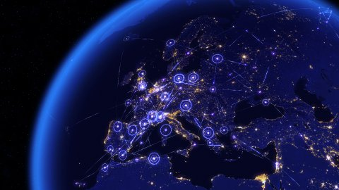 Global communications through the network of connections over Europe. - stock footage